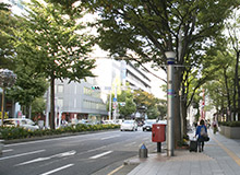 With the No. 12 Entrance/Exit to your back, move forward. You will see the Nagoya Naka City Hall to your right.
